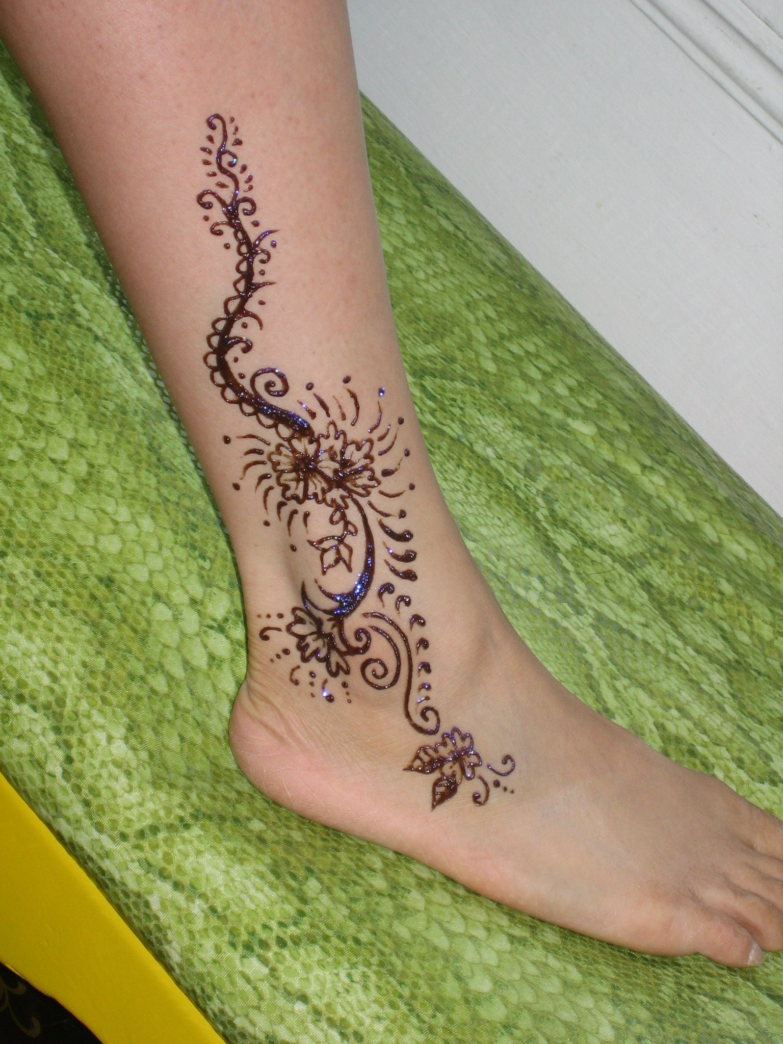 little henna lotus tattoo on ankle. Black Bedroom Furniture Sets. Home Design Ideas