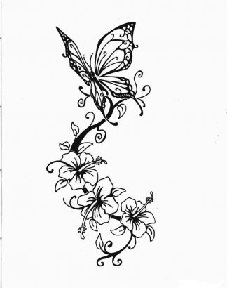 Hibiscus Tattoo - Perfect Butterfly And Hibiscus  Design