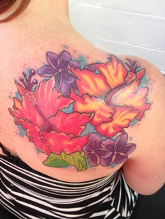 Hibiscus Tattoo - Perfect Colorful Hibiscus Flowers On Back Shoulder