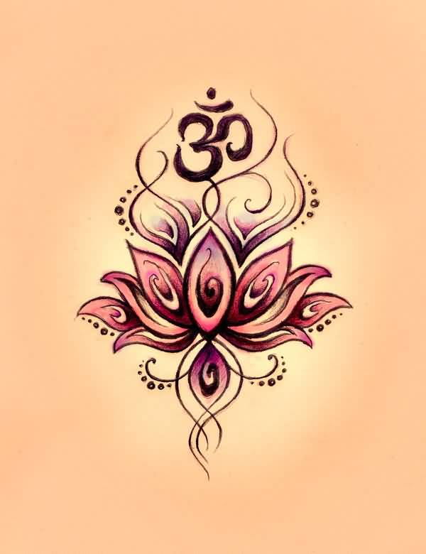 hinduism tattoo perfect om symbol n lotus design