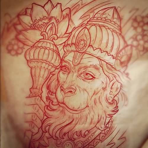 Hinduism Tattoo - Wonderful Hanuman Outline Design