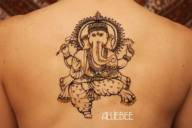 Hinduism Tattoo - Wonderful Henna Ganesh Design On Upper Back