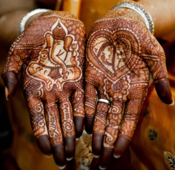 Hinduism Tattoo - Wonderful Henna Hindu Designs On Hands