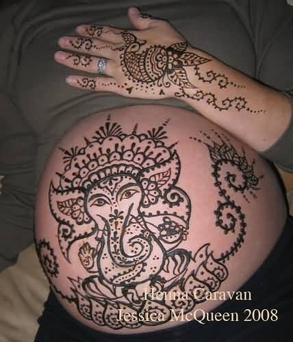 Hinduism Tattoo - Wonderful Henna On Belly