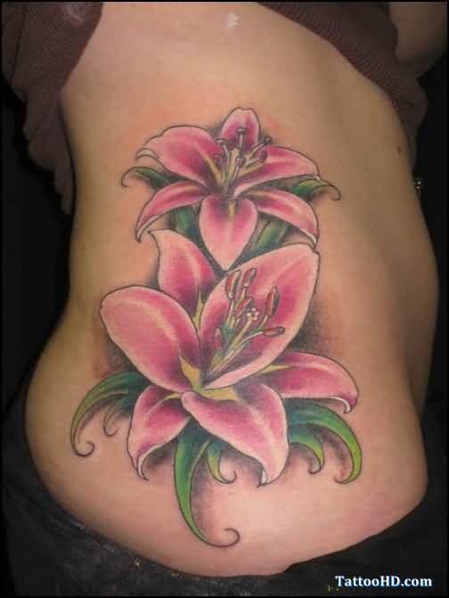 Hip Tattoo - Feminine Flowers On Hip