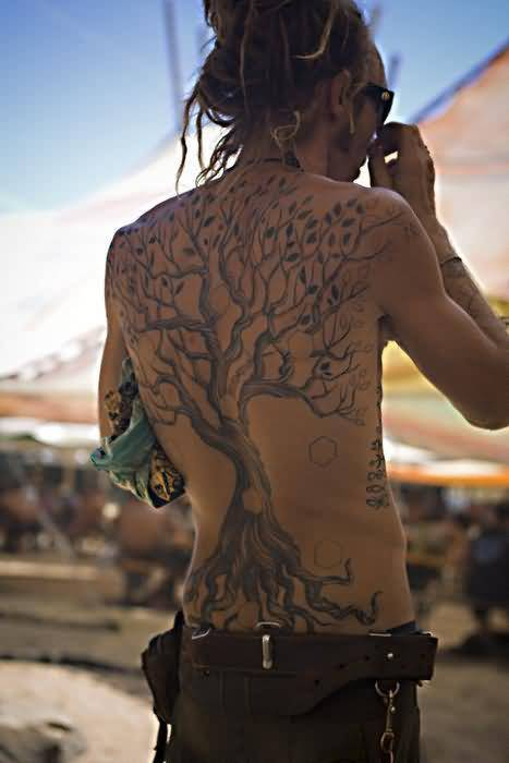 Hippie Tree Tattoo On Back Of Body