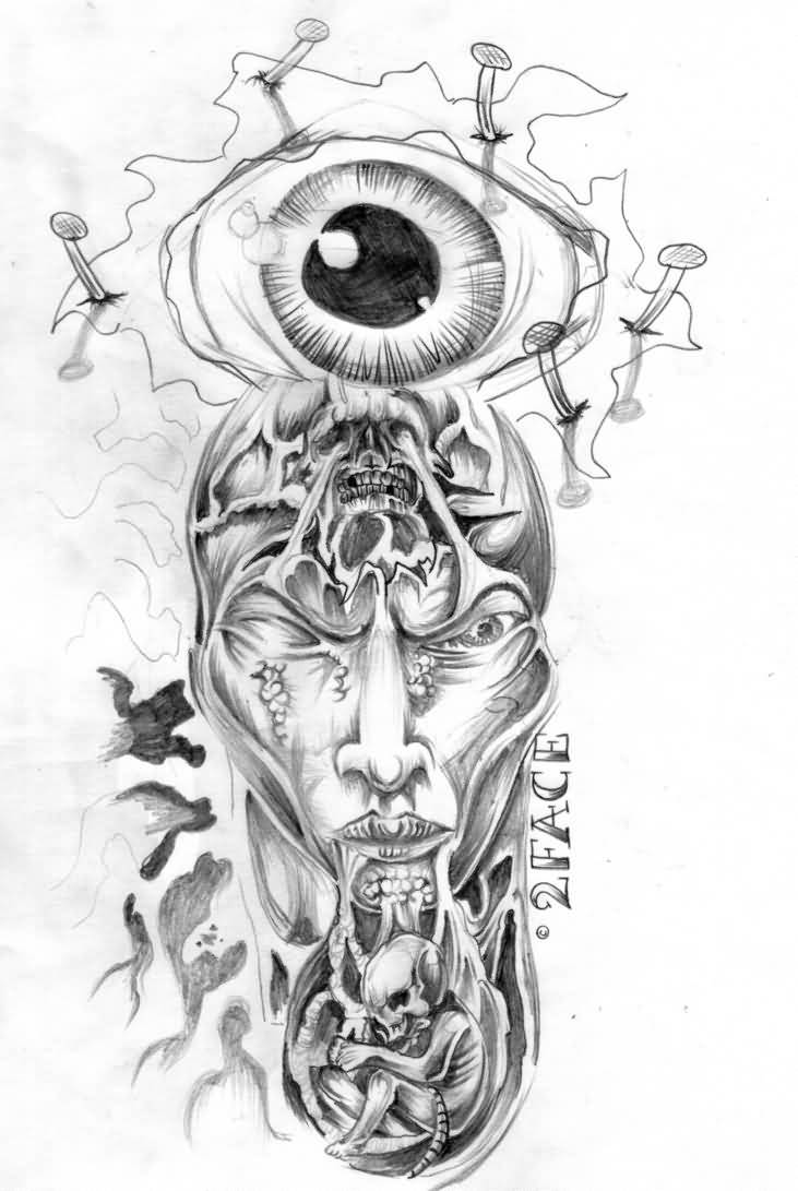 horror tattoo eye face flash design. Black Bedroom Furniture Sets. Home Design Ideas