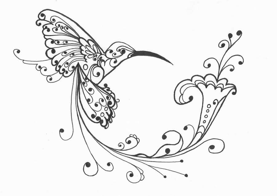 Gallery For gt Small Black And White Hummingbird Tattoos