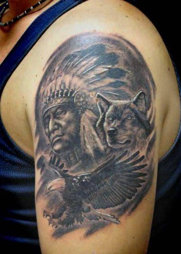 indian tattoo beautiful cherokee on left shoulder Indian Mascots and Logos Indian Motorcycle Logo