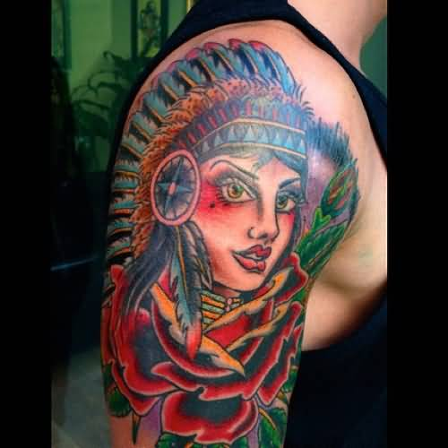 Indian Tattoo - Traditional Design On Shoulder