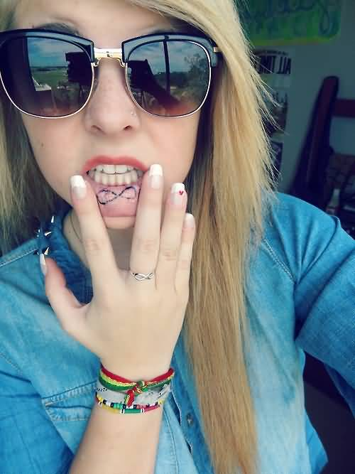 Infinity Symbol Tattoo Perfect Girl Showing Infinity On Lips