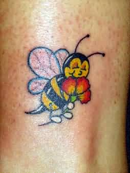 Insect Tattoo - Perfect Cute Insect Bee With Flower Design