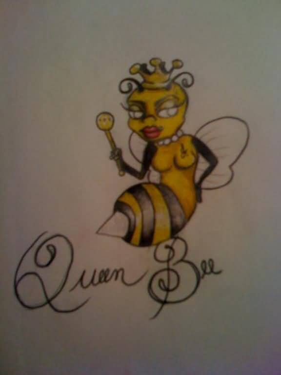 Insect Tattoo - Wonderful Queen Bee Insect Design