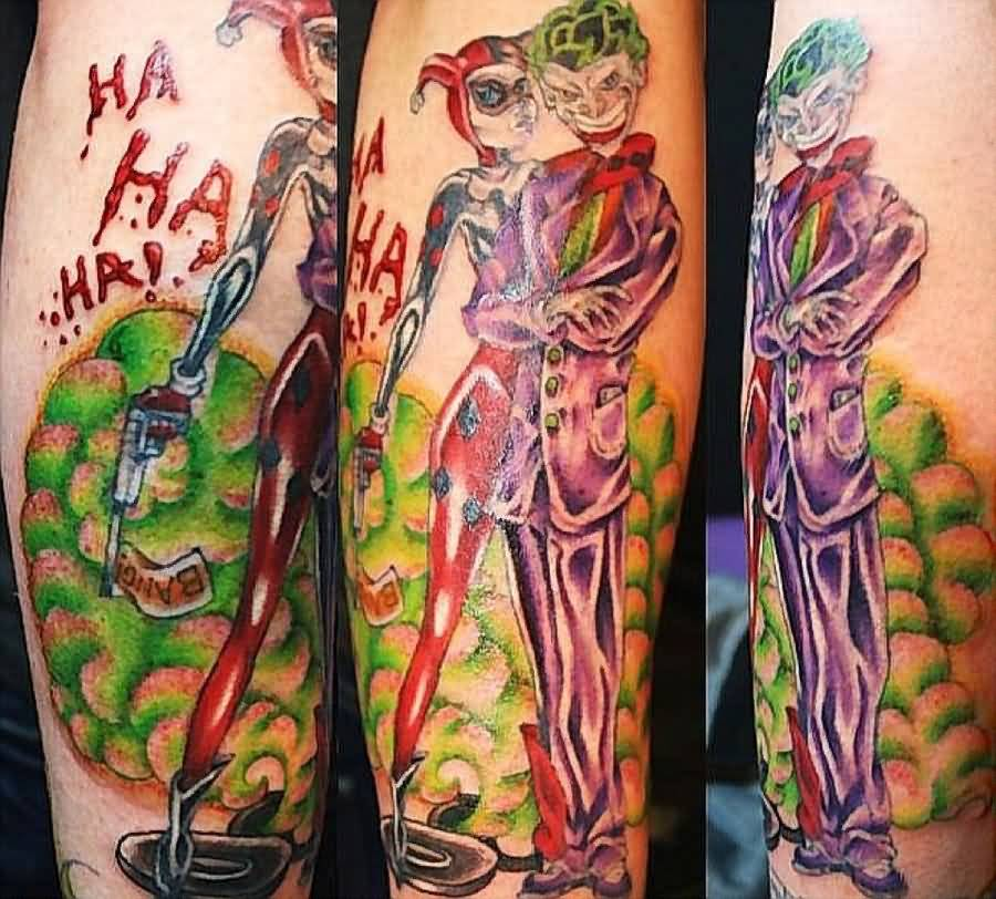 Joker Tattoo - Awesome Joker And Harley Quinn Design