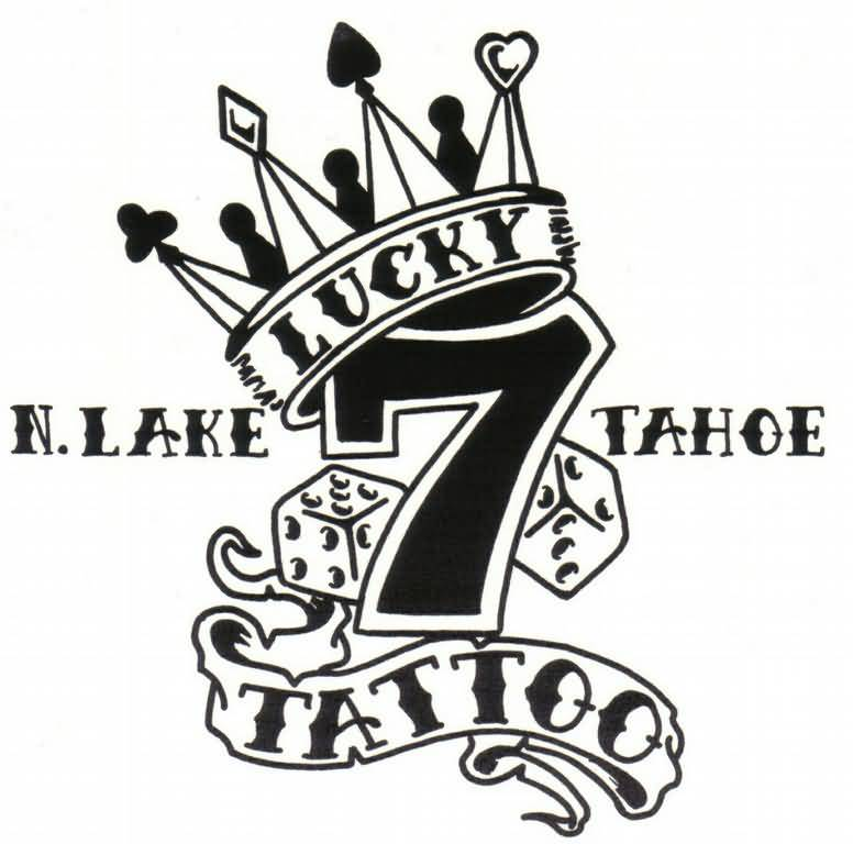 King Tattoo - Cute Lucky 7 Logo With Crown Design
