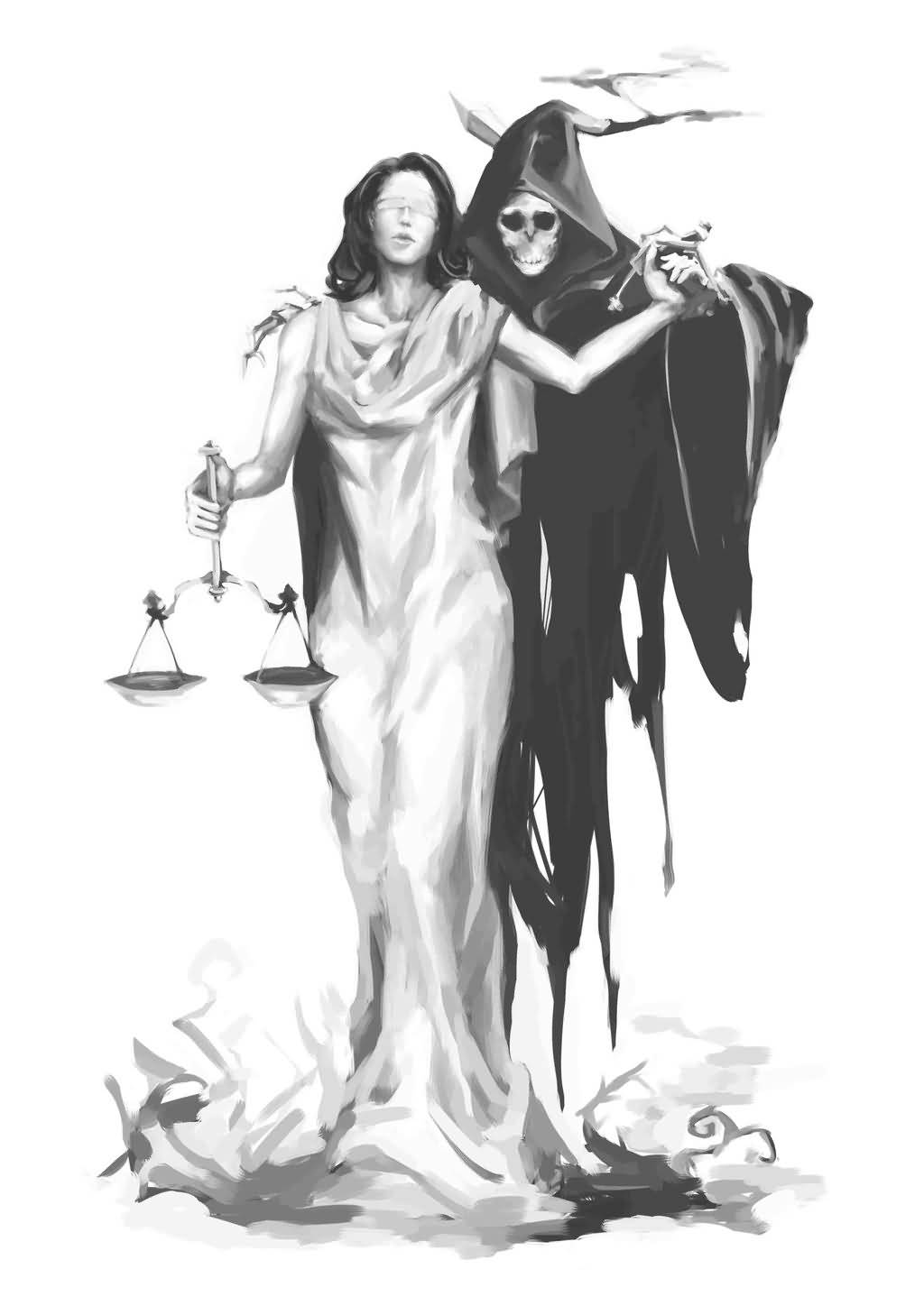 Comments Off On A Lady Justice With Devil Tattoo Design Amazing