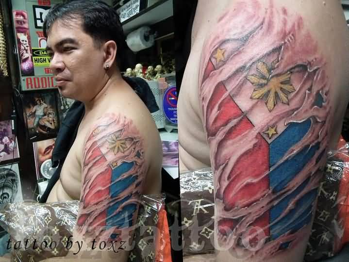 A Men International Flag Tattoo  Half Sleeve On Arm