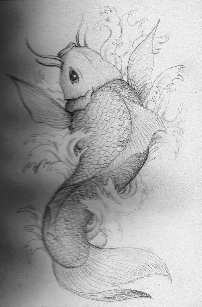 Amazing Koi Fish Draw Best Tattoo Design