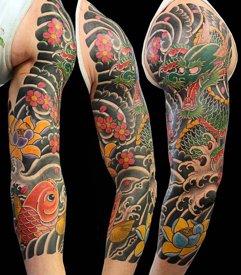 attractive japanese tattoo design on left arm. Black Bedroom Furniture Sets. Home Design Ideas