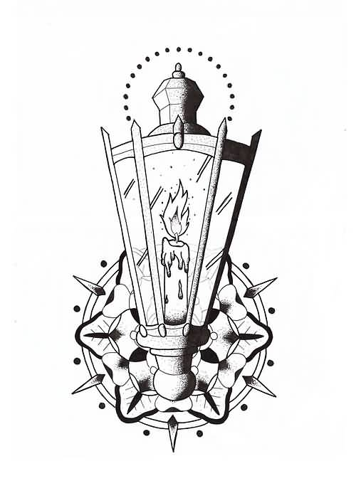 Awesome Candle Lamp Tattoo Graphic Design