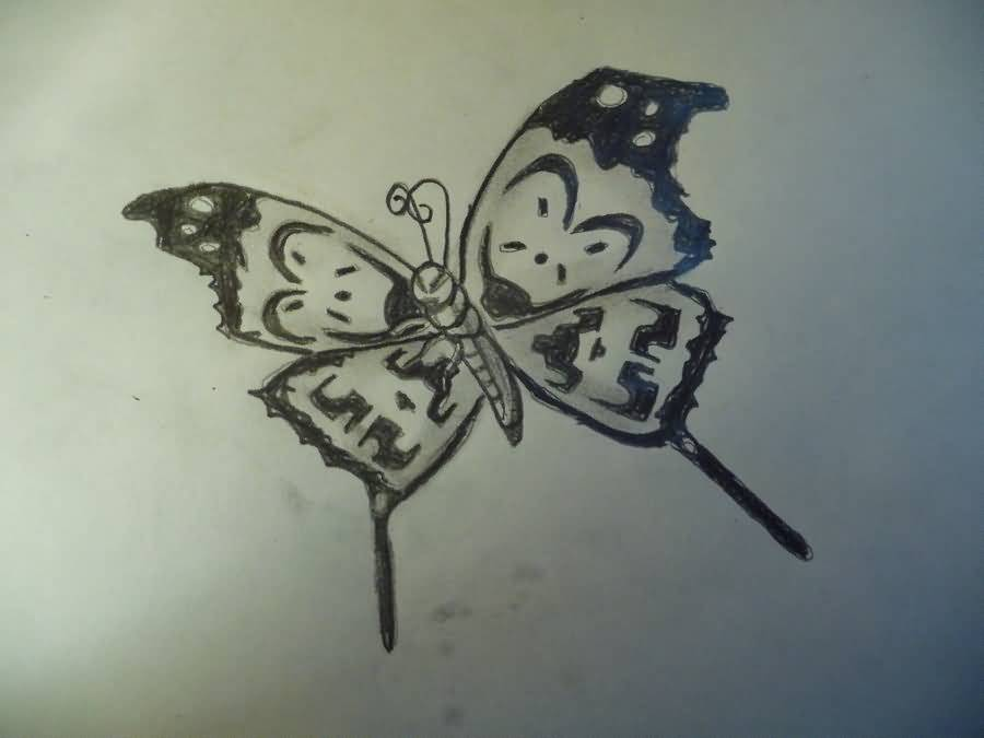 Beautiful Design Butterfly Nice Icp Tattoo