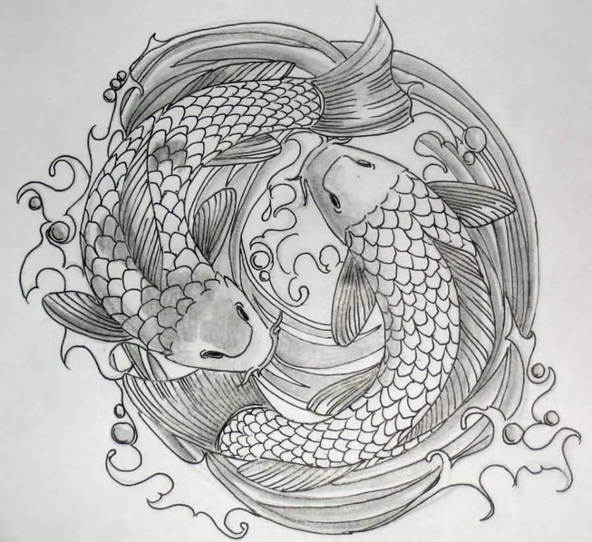 Beautiful Drawing Koi Fish Tattoo By Artist
