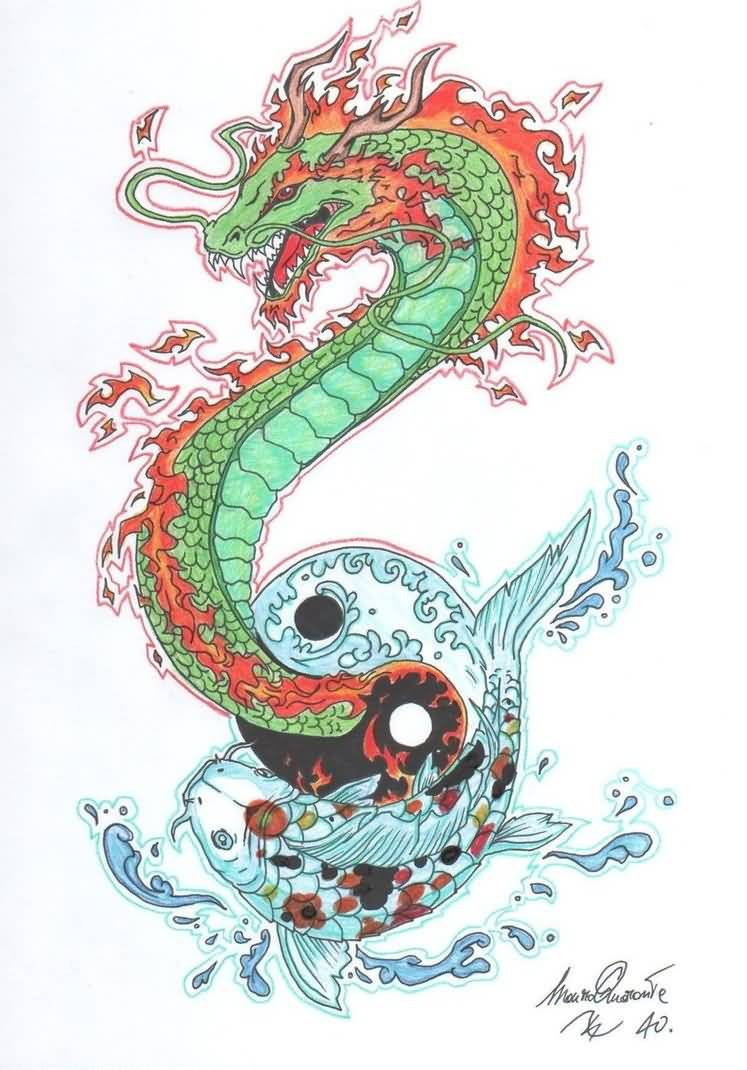 beautiful koi fish dragon drawing. Black Bedroom Furniture Sets. Home Design Ideas