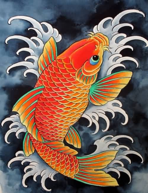Baby orange color koi fish tattoo design for Orange coy fish