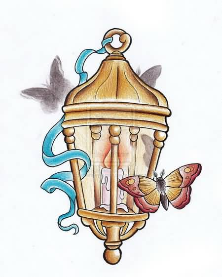 Best Butterfly Candle Lamp Tattoo Design