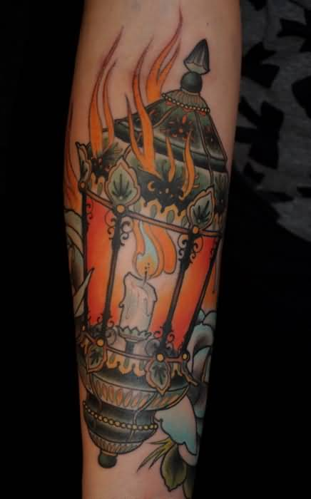 Best Candle Superb Tattoo On Leg