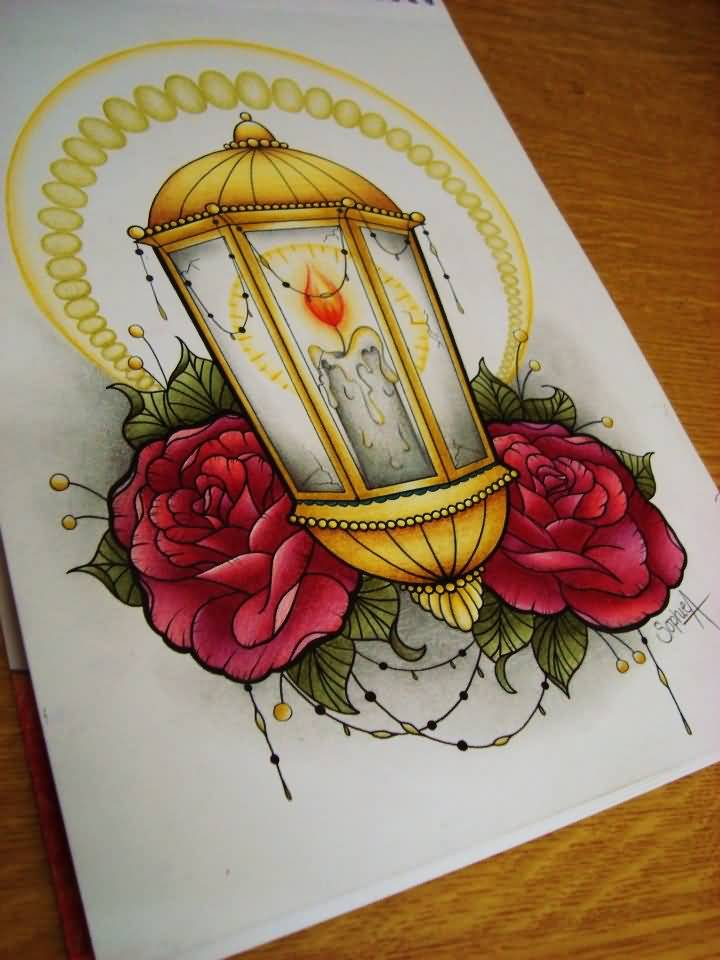 Best Ever Rose Candle Lamp Tattoo Graphic Design