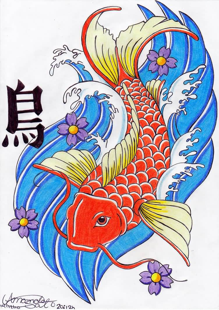 Great japanese artist koi fish tattoo design for Colourful koi fish