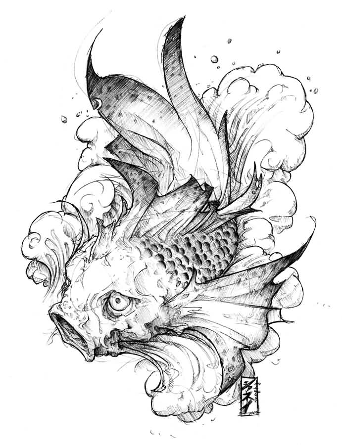 Koi tattoo ideas and koi tattoo designs page 8 for Black and white coy fish