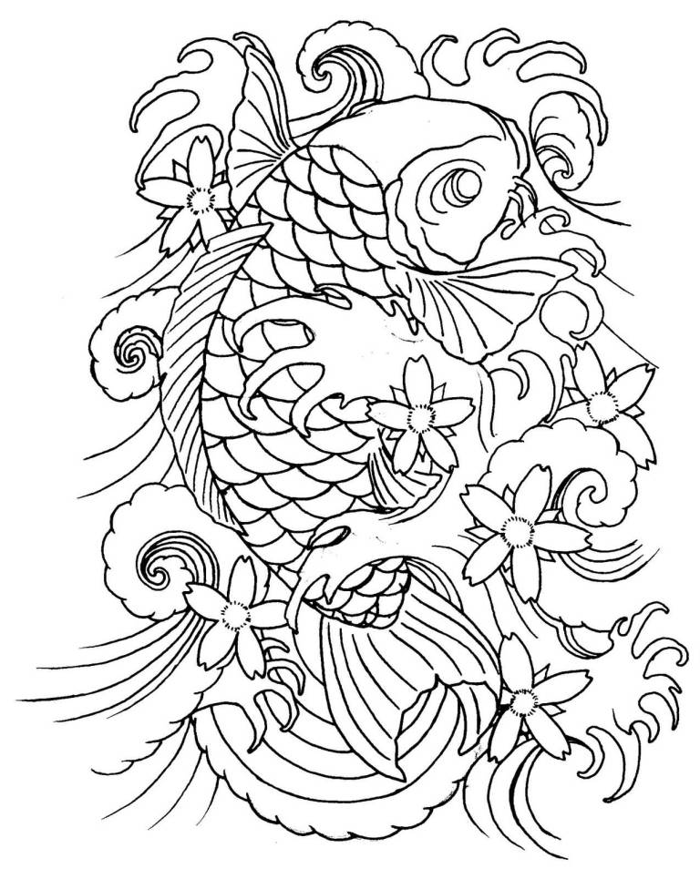 Tattoo Drawing Outline : Nice black outline koi fish tattoo design tattooshunter