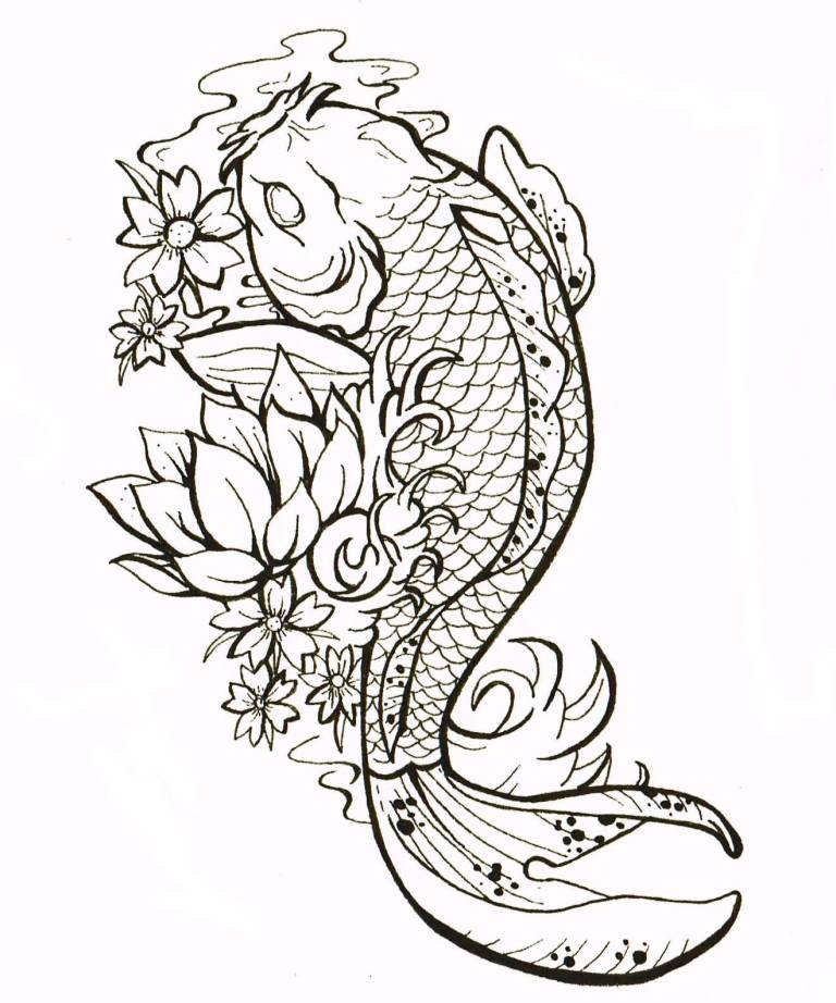 db2fac2600f41 Black Outline Yin Yang Koi Fish Tattoo Design