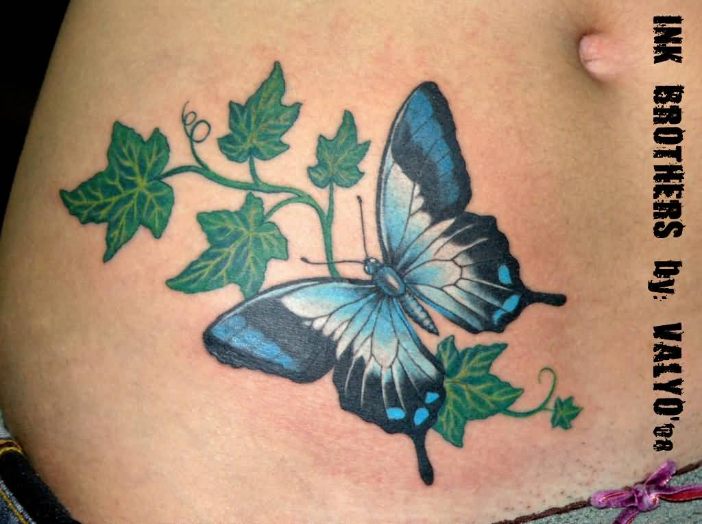 Butterfly Awesome Celtic Ivy Tattoo On Waist