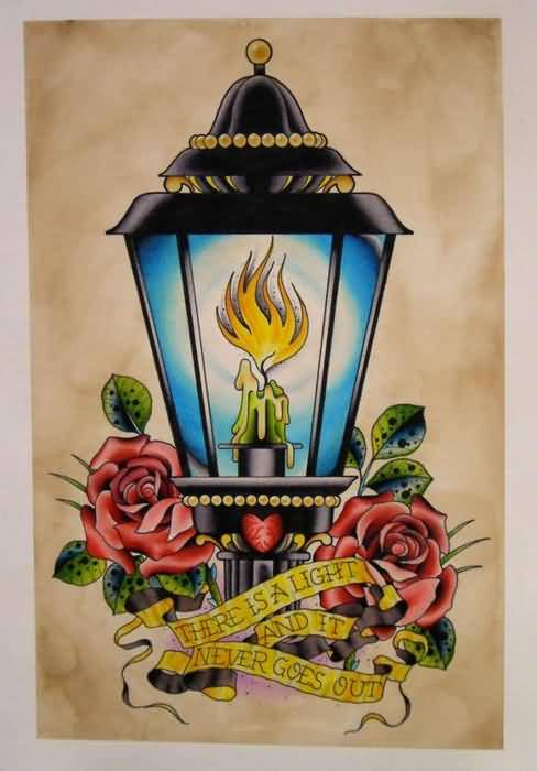 Candle Awesome Red Roses Lamp Tattoo Design
