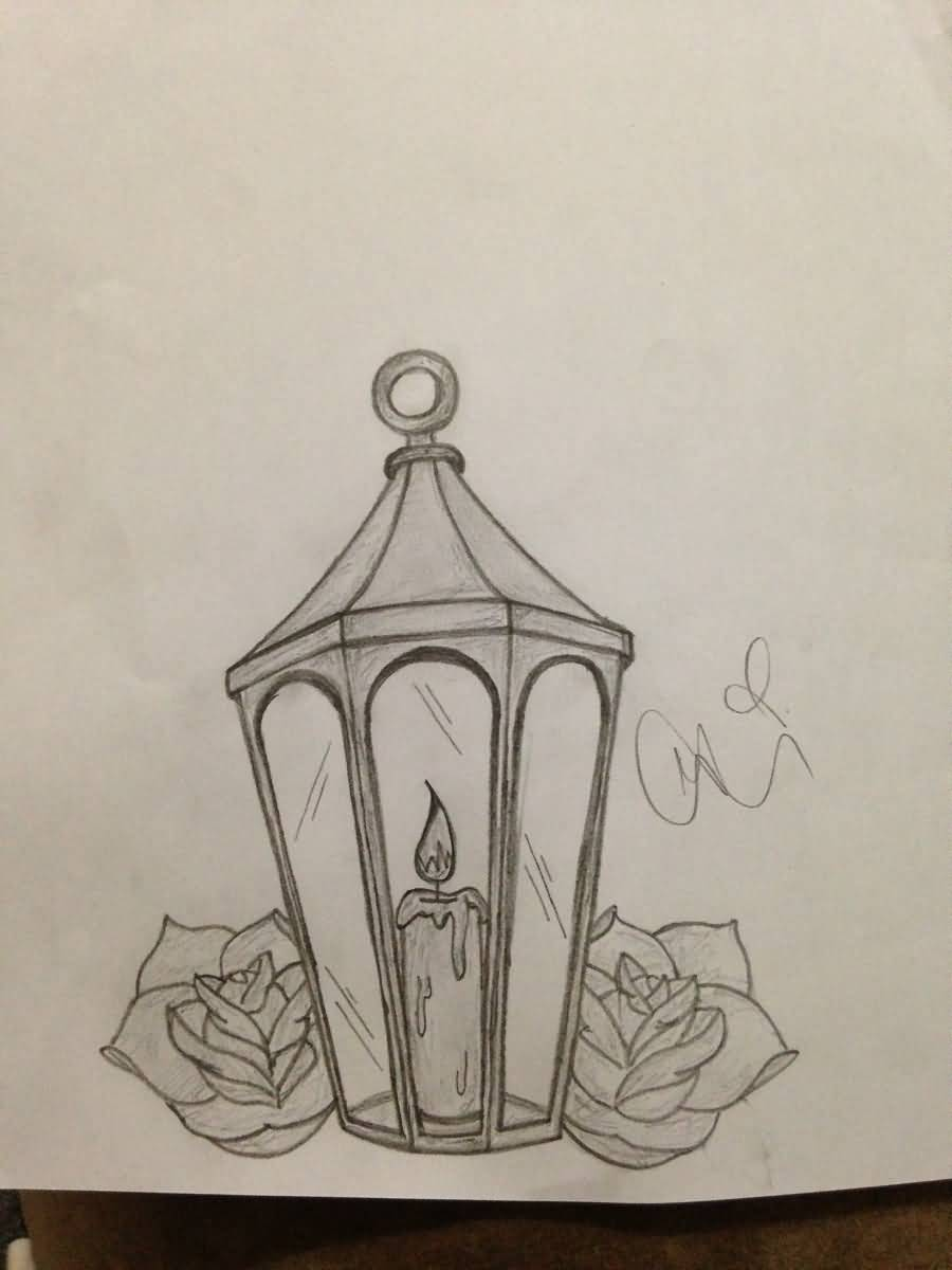 Candle Lamp Black And White Tattoo Design