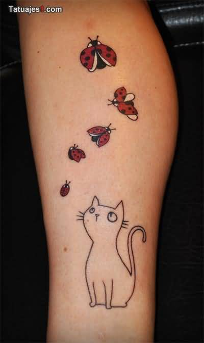 Cat See Flying Ladybug Awesome Tattoo Design