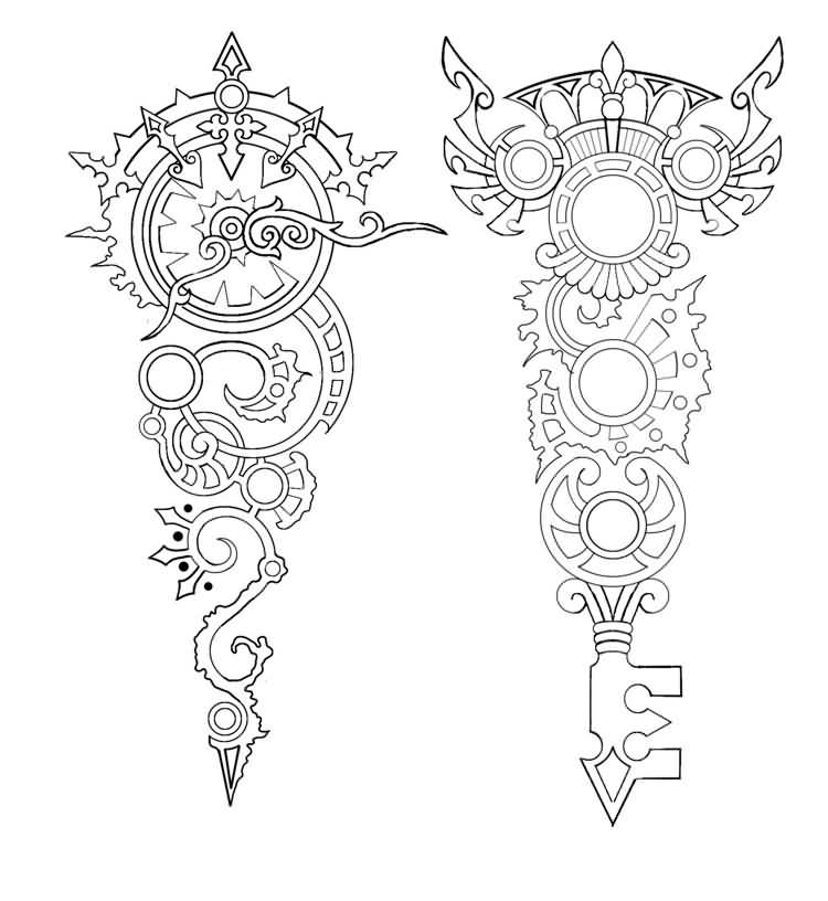 Cool Outline Incredible Key Tattoo Graphic Design
