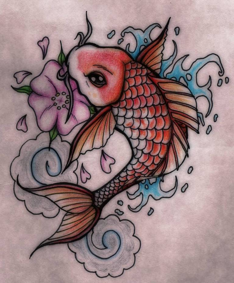 Cute One Koi Fish Flower Tattoo Design