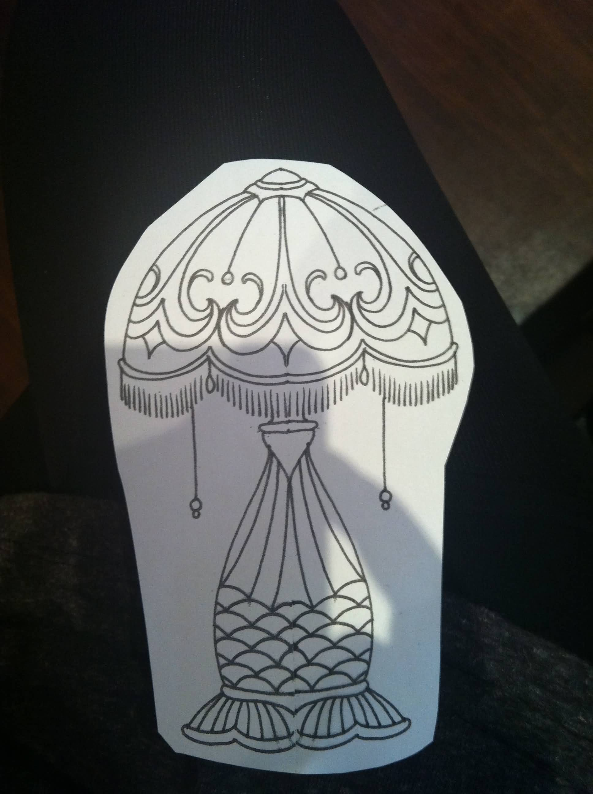Cutting Paper Lamp Tattoo Design