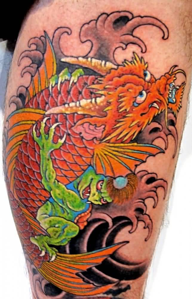 dragon koi fish tattoo on calf. Black Bedroom Furniture Sets. Home Design Ideas