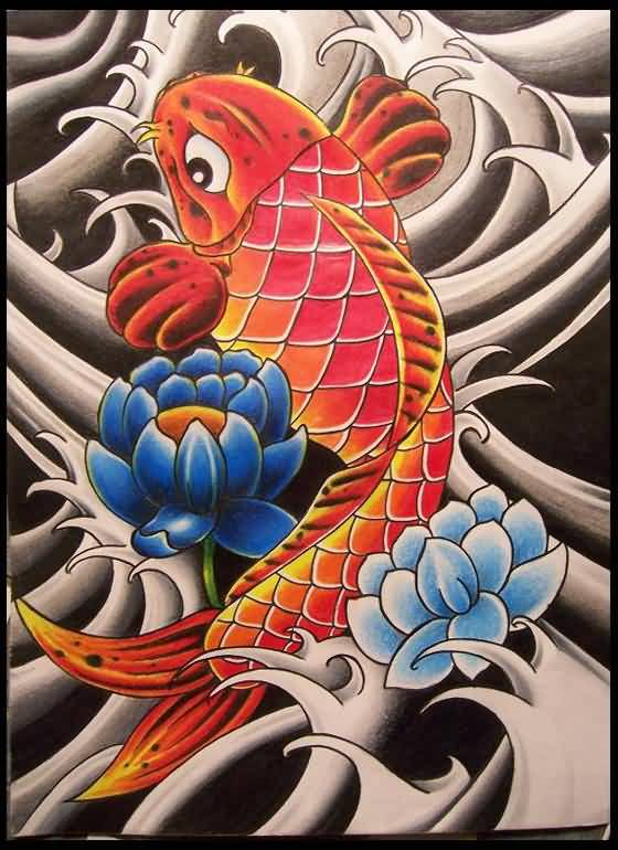 Fabulous Koi Fish Orange Color Tattoo Design