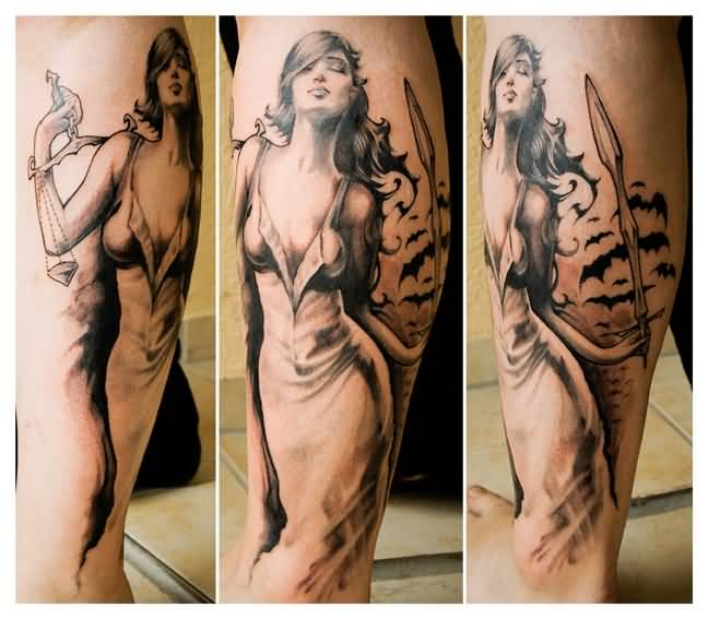 Picture of lady justice tattoo on leg for Tattoos of lady justice