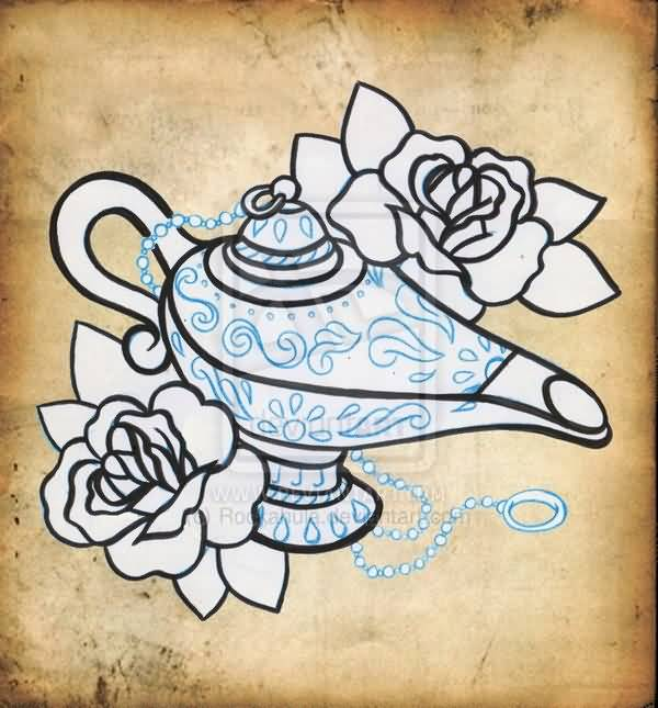 Famous Genie Lamp Drawing Tattoo Design