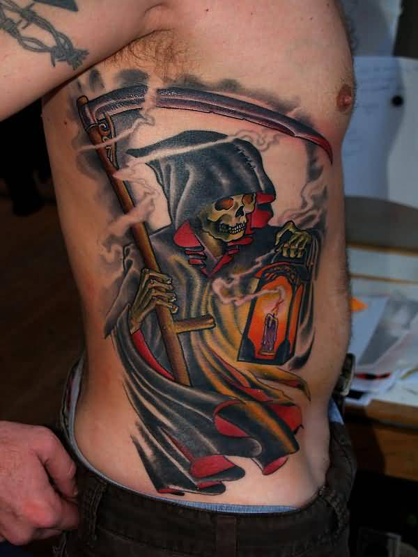 Fantastic Devil In Hand Candle Lamp Tattoo On Right Ribs Beautiful