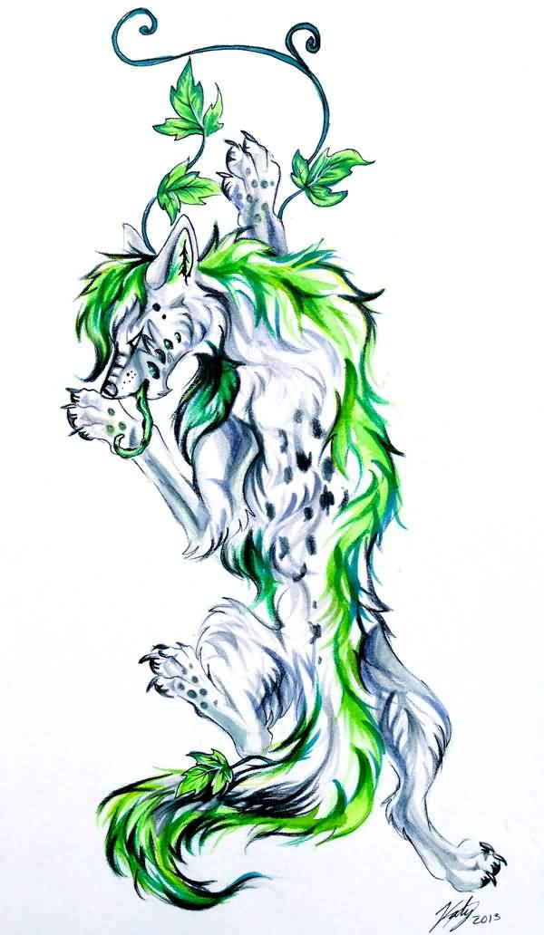 Fantastic Ivy With Wolf Tattoo Design