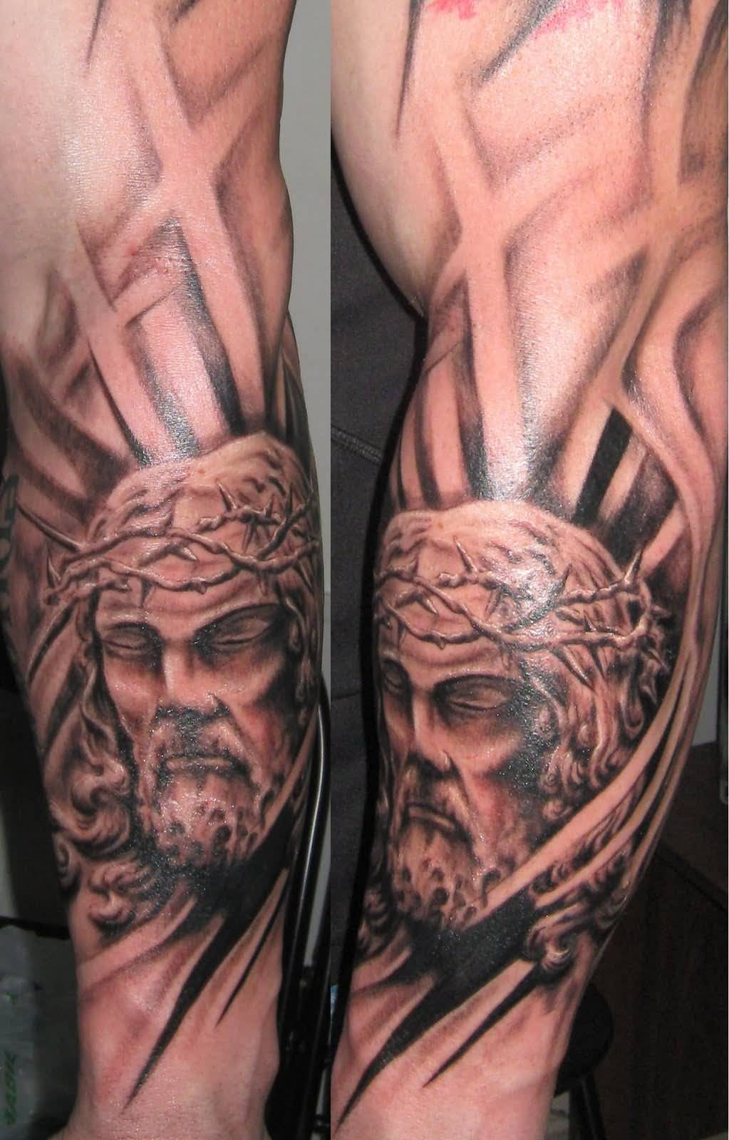 Fantastic Jesus Tattoo On leg