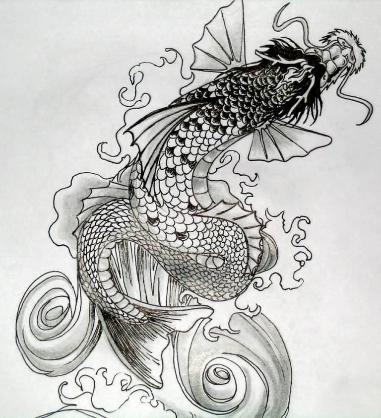 Fantastic Koi Fish Dragon Tattoo Deisgn Black And White